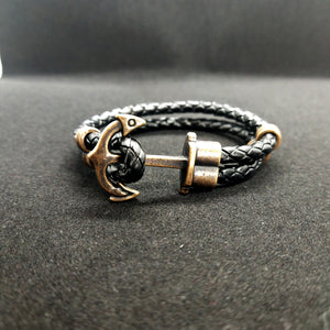 Black Anchor Rope Leather Bracelet For Men