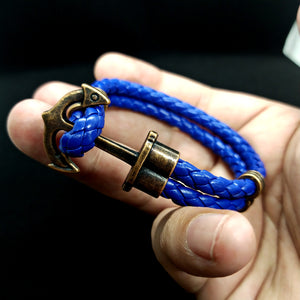 Blue Anchor Rope Leather Bracelet For Men