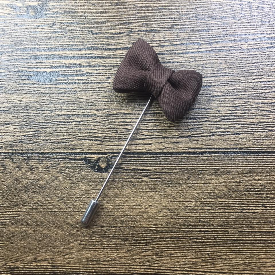 Brown Bow Tie  Handmade Boutonniere Stick