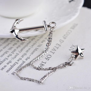 Anchor Chain Silver Chain Tie Pin