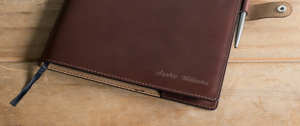 personalised leather A4 Notebook + Pen with name or initials