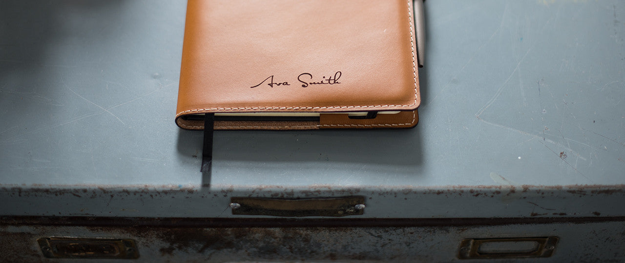 personalised leather A5 Notebook + Pen with name or initials
