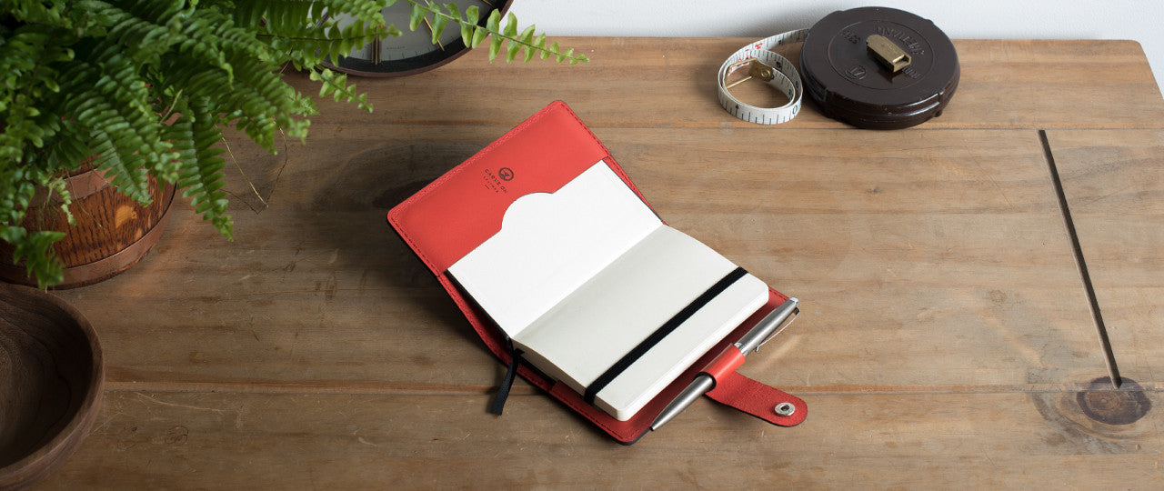 personalised leather A6 Notebook and Pen