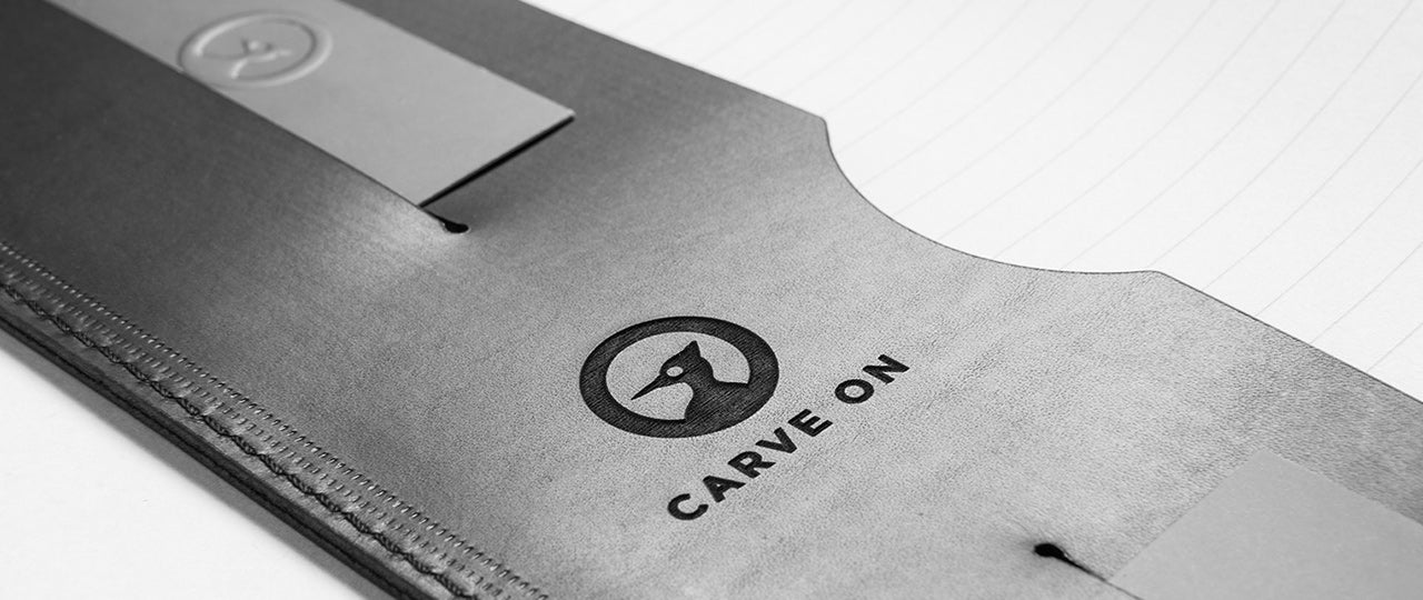 personalised leather A4 Notebook CarveOn logo