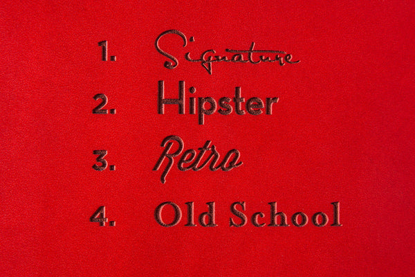 Red Leather Font Options