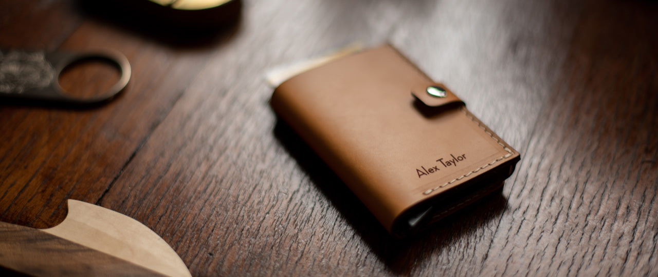 personalised vegetable tanned leather RFID Wallet Tan