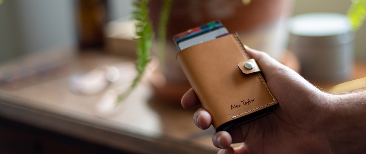 personalized leather RFID card holder wallet front