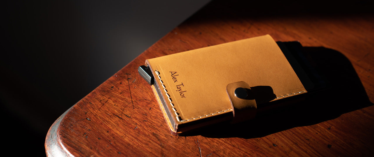 personalized leather RFID card Wallet
