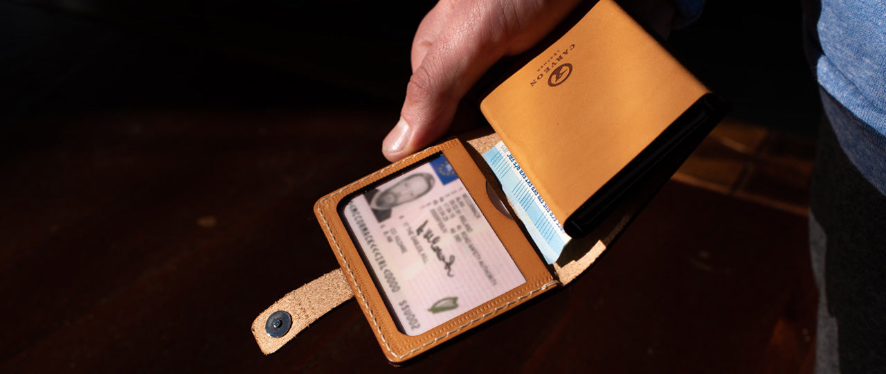 personalized leather RFID ID wallet