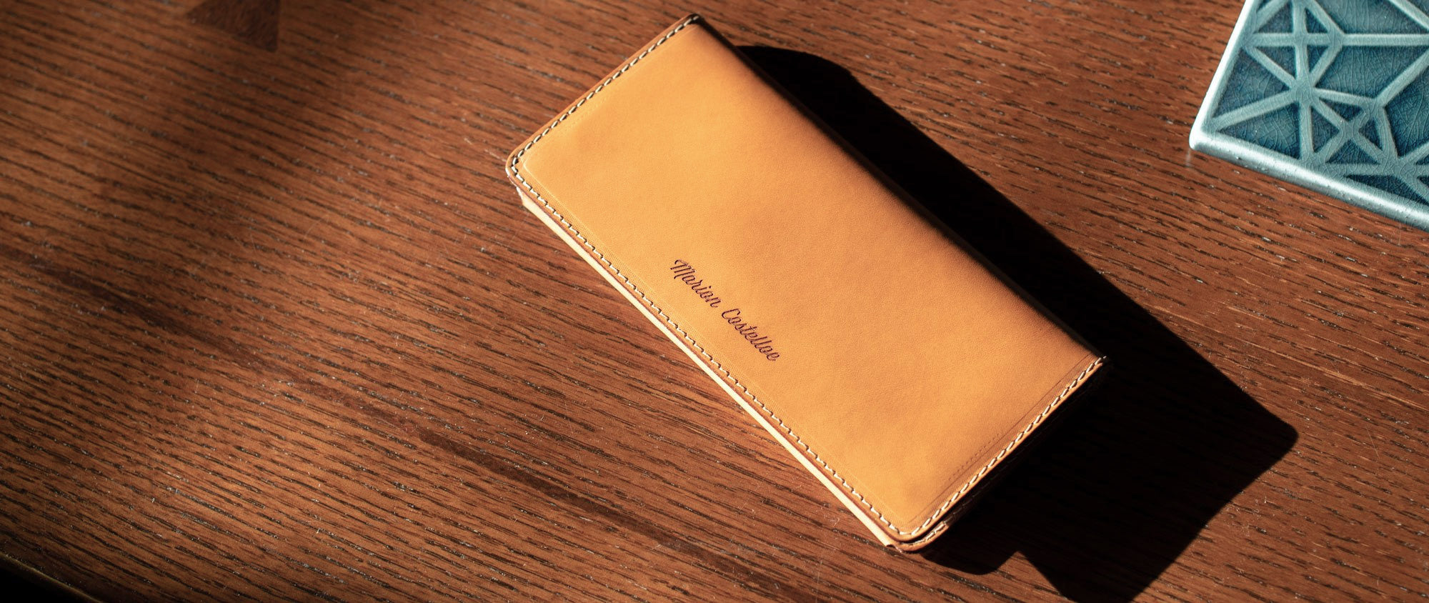 personalized leather long wallet table