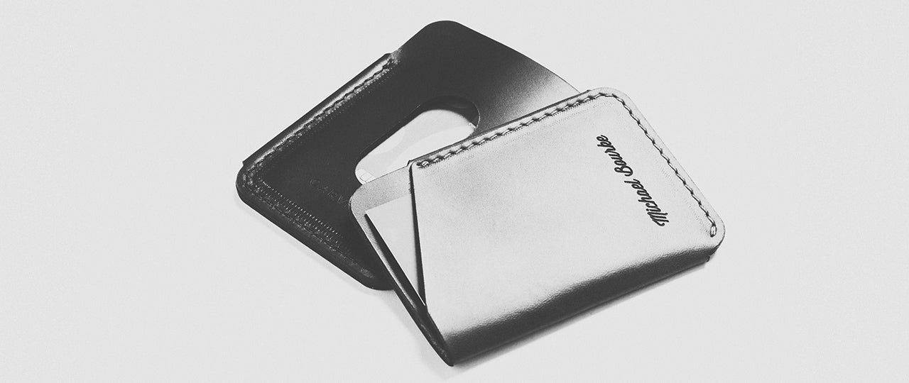 personalized leather quick-draw card holder front and back