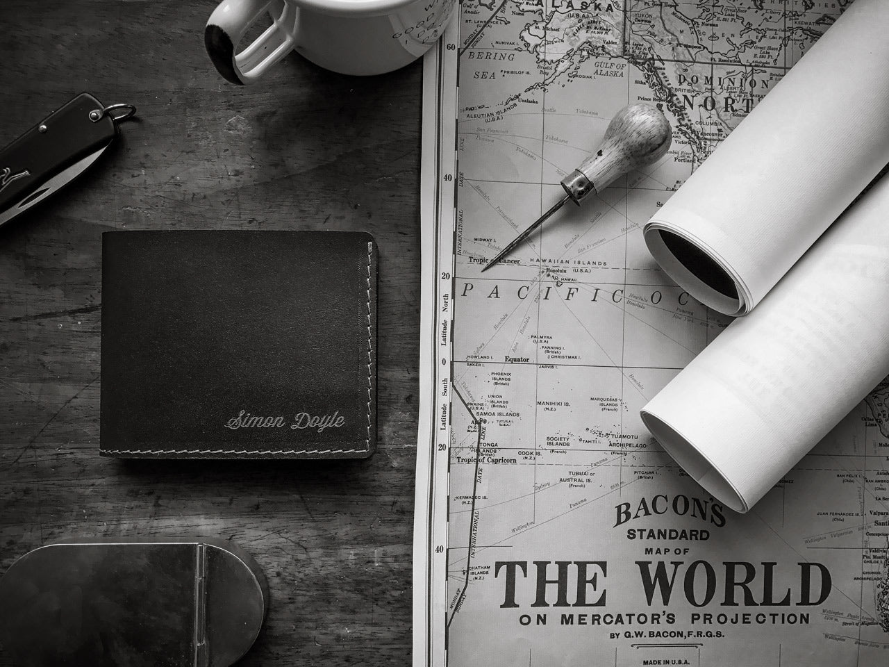 personalised traditional leather wallet