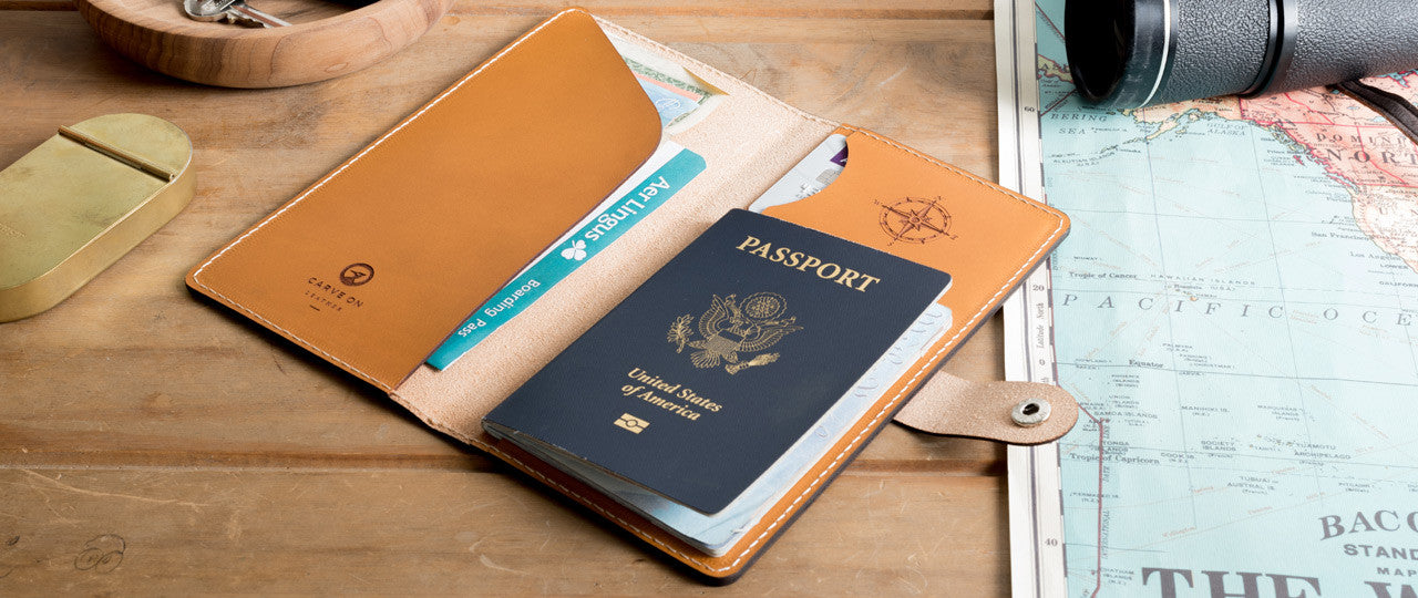 personalized leather travel wallet on table