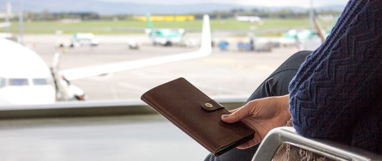 personalized leather travel wallet airport