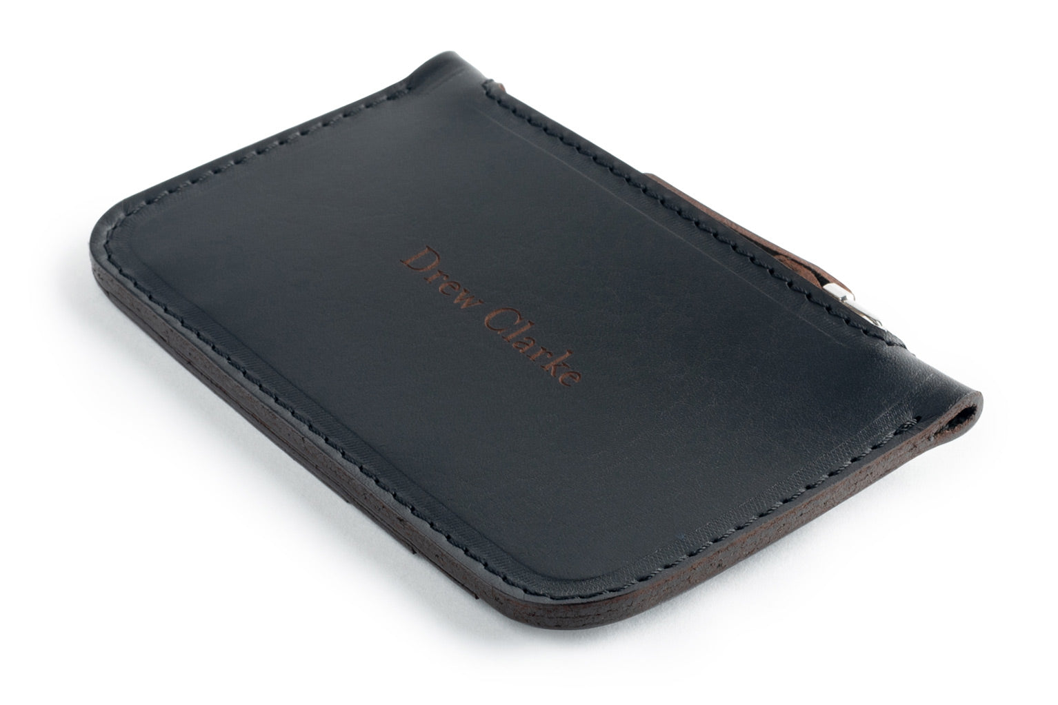 Personalized black leather Zip Card Wallet