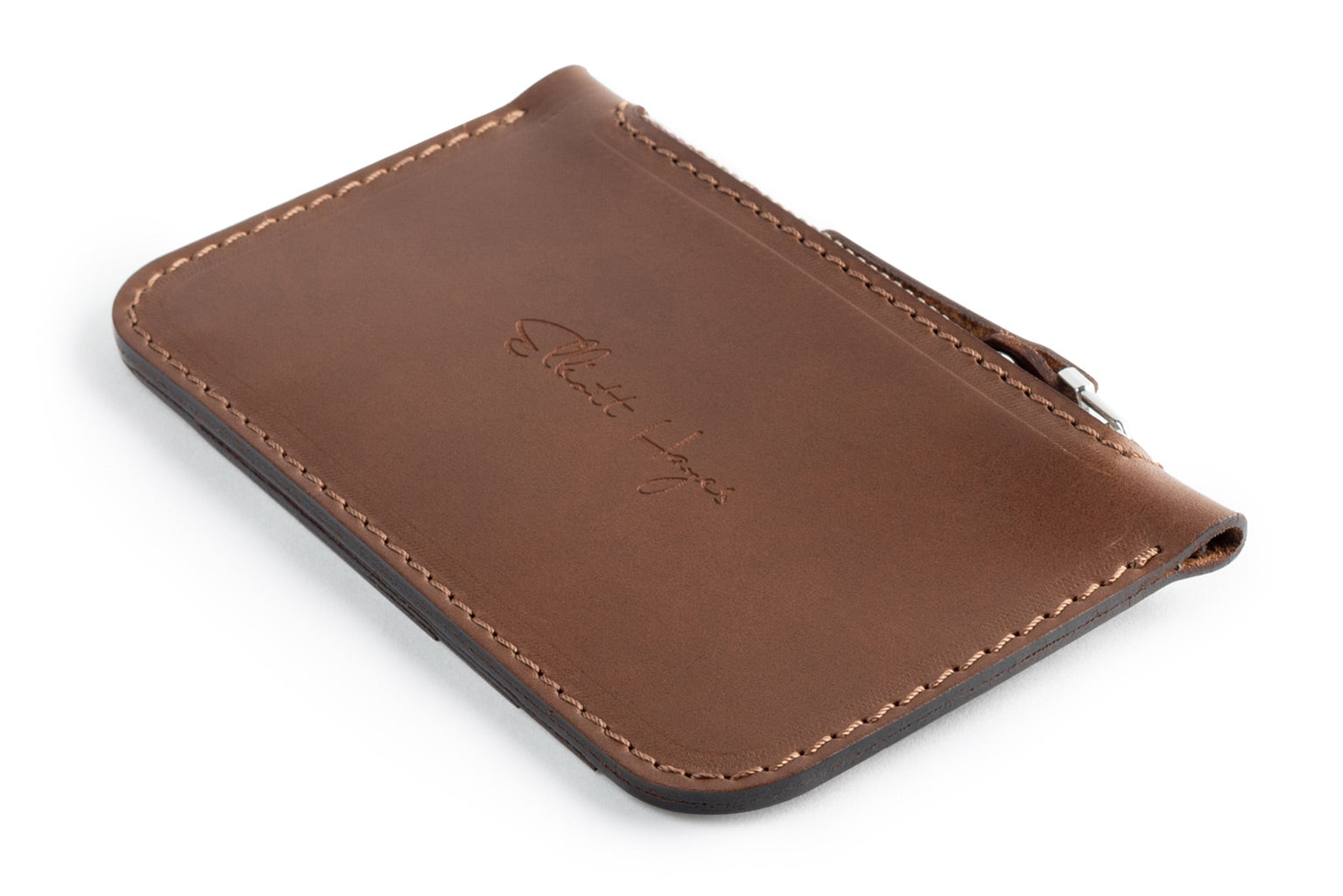 Personalized dark brown leather Zip Card Wallet