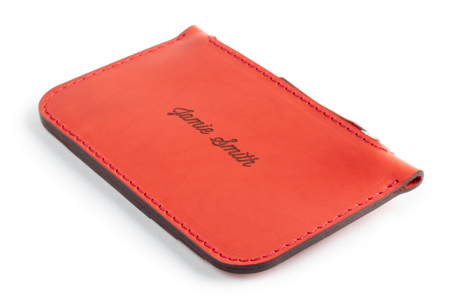 Personalized red leather Zip Card Wallet