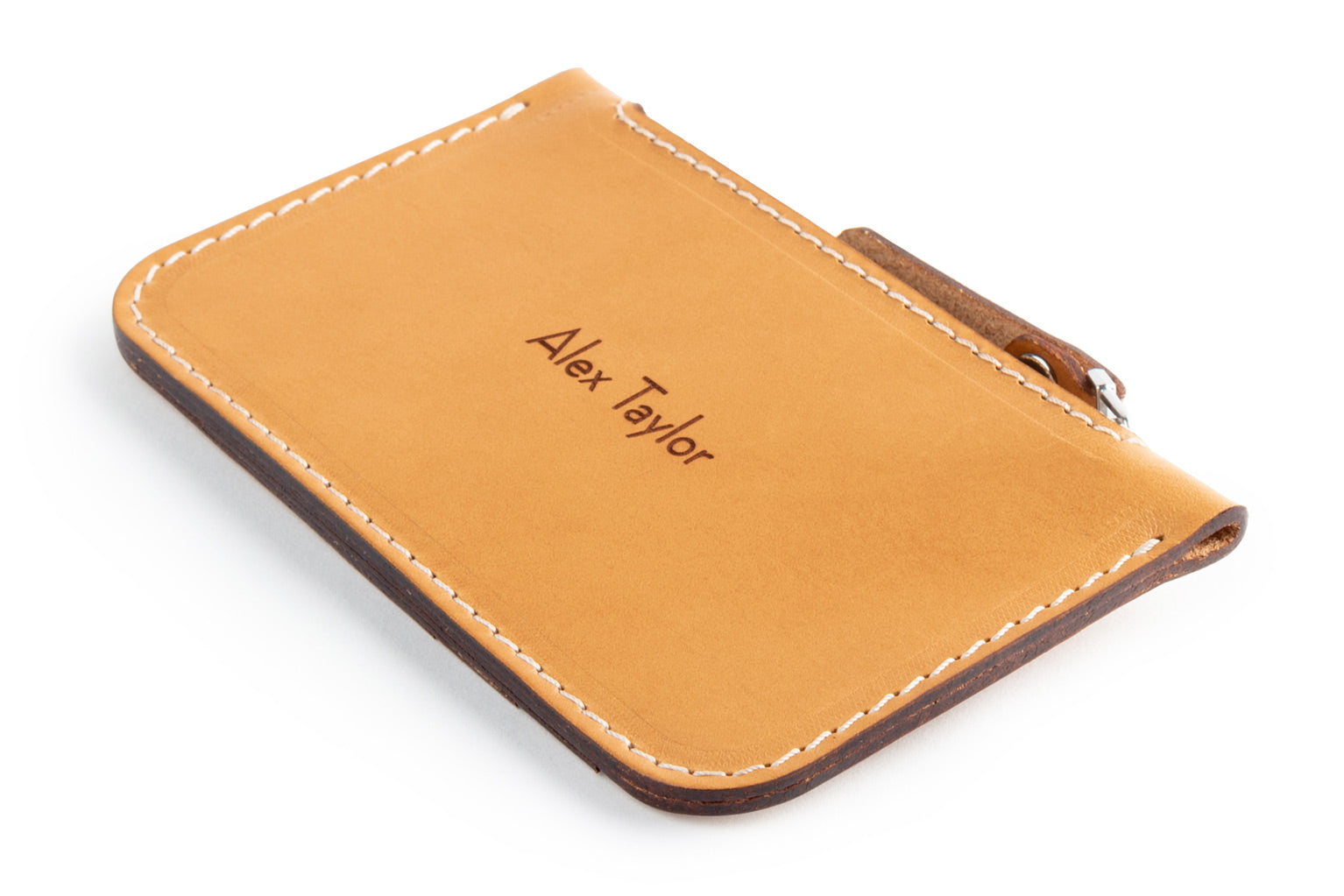 Personalized tan Zip Card Wallet
