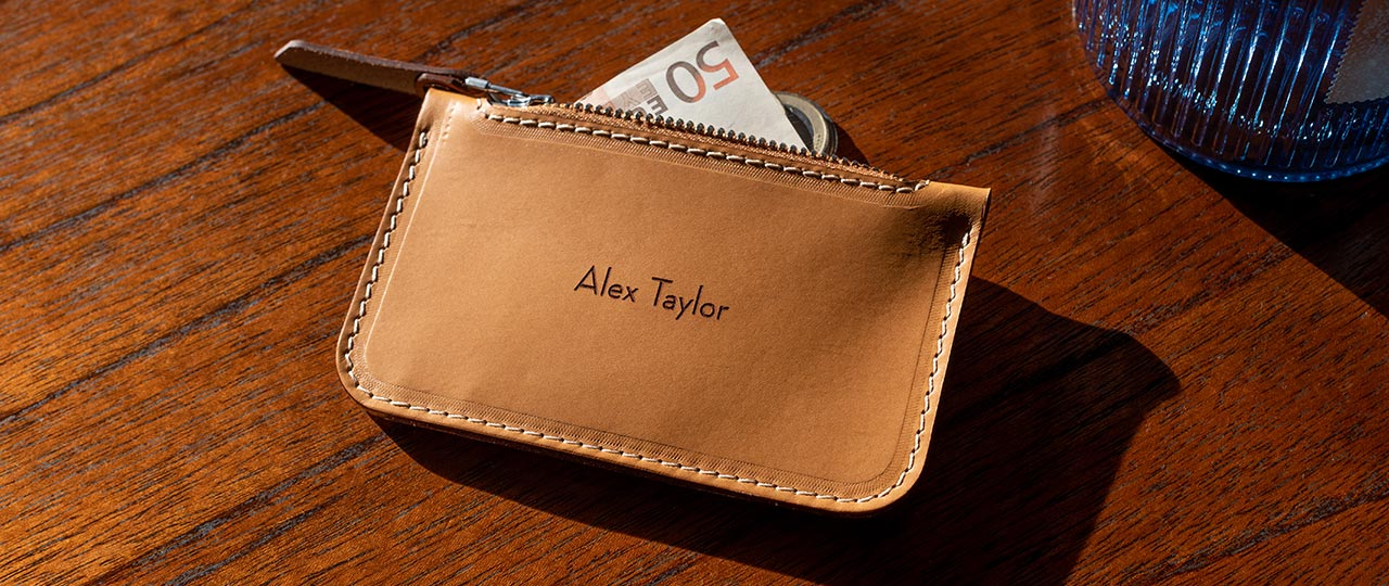 personalised vegetable tanned leather Zip Card Wallet Tan