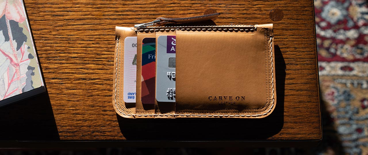 personalized leather Zip card Wallet side
