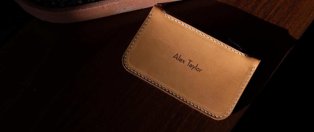 personalized leather Zip Card wallet