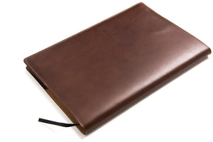 Personalised Dark Brown Leather A4 Notebook Back