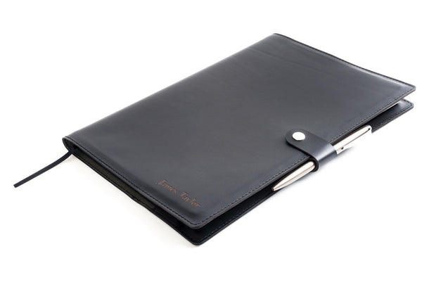 Personalised Black Leather A4 Notebook + Pen