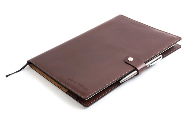 Personalised Dark Brown Leather A4 Notebook + Pen