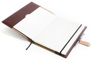 Personalised Dark Brown Leather A4 Notebook + Pen + Refill