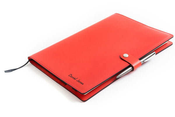 Personalised Red Leather A4 Notebook + Pen