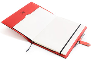 Personalised Red Leather A4 Notebook + Pen Inside