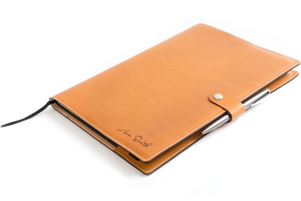 Personalised Tan Leather A4 Notebook + Pen
