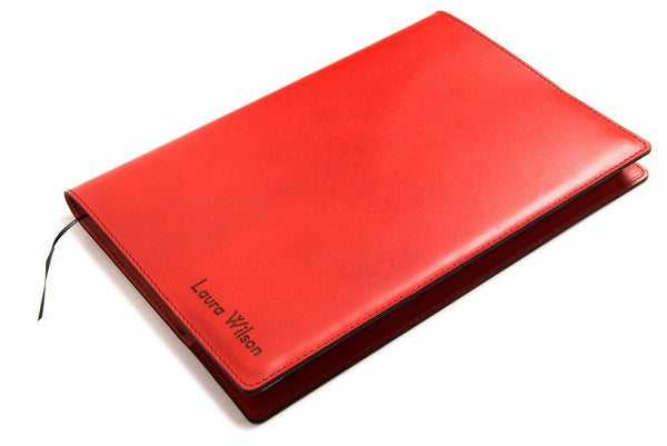 Personalised Red Leather A4 Notebook - Front