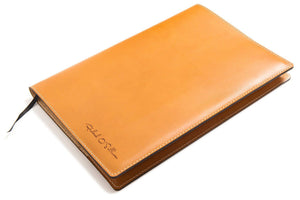 Personalised Tan Leather A4 Notebook - front