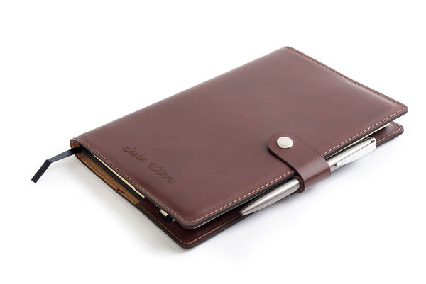 Personalised Dark Brown Italian Leather A5 Notebook + Pen