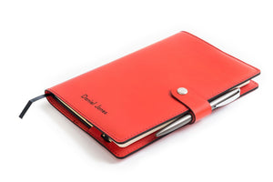 Personalised Red Italian Leather A5 Notebook + Pen