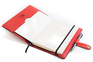 Personalised Red Italian Leather A5 Notebook + Pen Holder + Refill