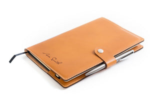 Personalized Tan Leather A5 Notebook + Pen