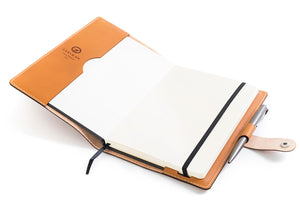 Personalized Tan Leather A5 Notebook + Pen Open