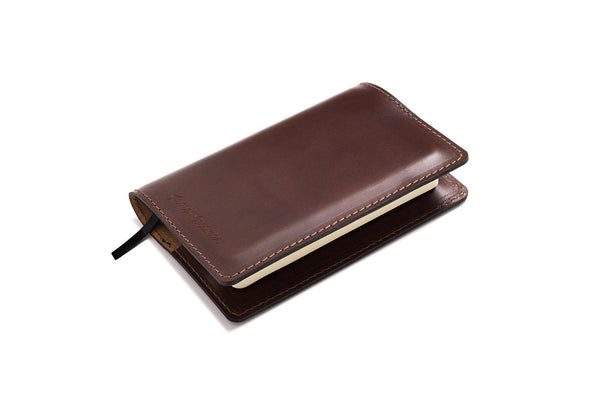 Personalized Dark Brown Leather A6 Notebook