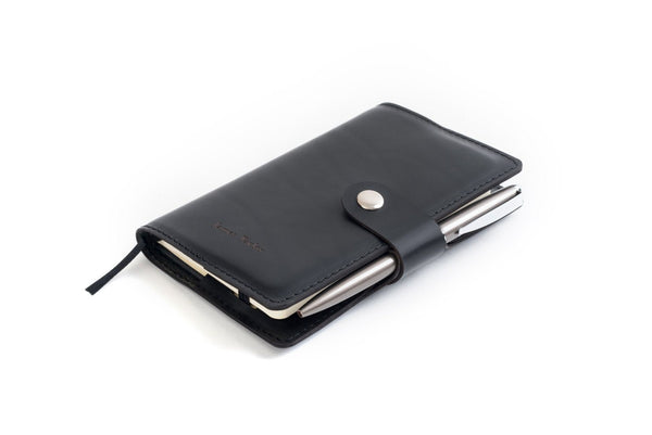 Personalised Black Italian Leather A6 Notebook + Pen