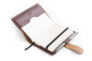 Personalised Dark Brown Leather A6 Notebook + Pen Insert