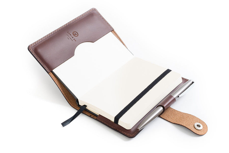Personalised Dark Brown Italian Leather A6 Notebook + Pen