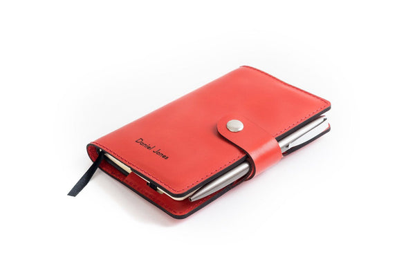 Personalised Red Italian Leather A6 Notebook + Pen