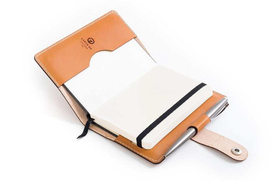 Personalised Tan Leather A6 Notebook + Pen