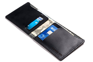 Personalised Black Leather Slim Billfold Wallet Open