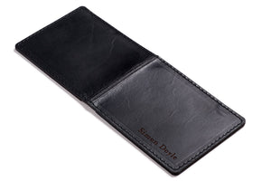 Personalised Black Leather Slim Billfold Wallet Open Back