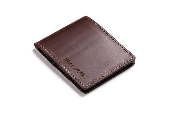 Personalized Dark Brown Leather Slim Billfold Wallet