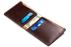 Personalized Dark Brown Leather Slim Billfold Wallet Open