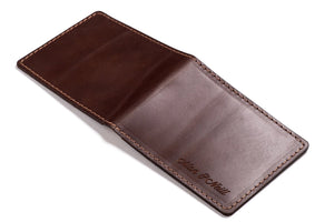 Personalized Dark Brown Leather Slim Billfold Wallet Open Back